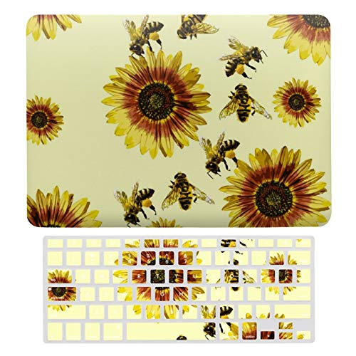 For MacBook New Pro 13 Touch Case, Plastic Hard Shell & Keyboard Cover Compatible with MacBook New Pro 13 Touch, Yellow Sunflowers And Honey Bees Summer Pattern Laptop Protective Shell Set
