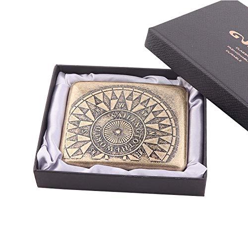 Caja de cigarrillos de metal con diseño de flor condensada (capacidad 20), grabada, resistente a la compresión,a prueba de polvo,caja de regalo,brújula de la suerte con clip de resorte de doble cara