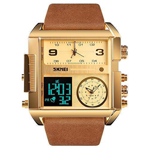 TONSHEN Herren Luxus Fashion Uhren LED Elektronik Alarm Analog Quarz DREI Zeit Digitaluhr Outdoor Sportuhr Groß Edelstahl Lünette mit Leder Band Armbanduhr (Gold 2)