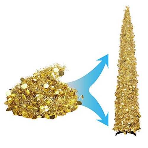 Joy-Leo 5 Feet Gold Yellow Sequin Pop Up Tinsel Christmas Tree, Easy to Assemble and Store, for Small Spaces Apartment Fireplace Party Home Office Store Classroom Xmas Decorations