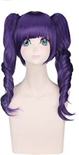 S-ssoy 50cm Purple Women's Girl's Wigs Harajuku/Lolita Short Natural Wave Full hairpieces With Two Ponytails Anime Style Cosplay/Costume Hair with Bangs