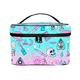 Portable Travel Cosmetic Bags for Women Beauty Organizer Bag Mesh Pocket Make Up Bags (Girly Pastel Witch Goth Pattern)