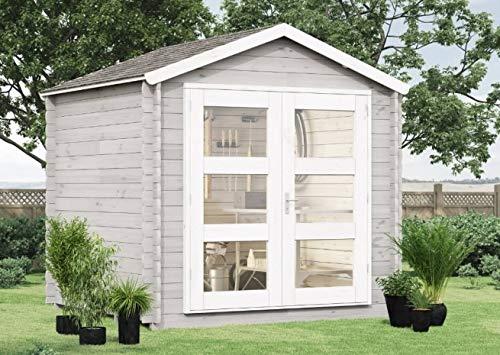 Alpholz Gartenhaus Lommel aus Massiv-Holz | Gerätehaus mit 19 mm Wandstärke | Garten Holzhaus inklusive Montagematerial & Dachpappe | Geräteschuppen Größe: 270 x 210 cm | Satteldach