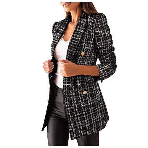 Women's Plaid Blazer Jackets Long Sleeve Fall Fashion Coat Lapel Double Breasted Dressy Work Office Shoulder Pads Suit Black
