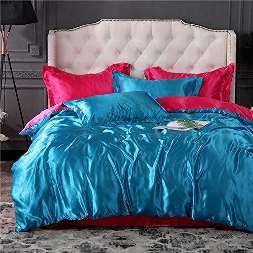 Bedding-LZ Flauschige BettwäSche,Set Von Sommereiseide Vierteilige Doppelseitige KüHle Rosa Bettbedarf-Bb_2,2m Bett (4 StüCk) (220 * 240 cm 220 * 240 cm)