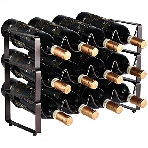 Estantería De Vino Botelleros Apilables Organizador De Almacenamiento De Vino Estante Para Vino De Metal Con Capacidad Para 12 Botellas Para Estantes De Presentación De Cocina Y Barra De Vino