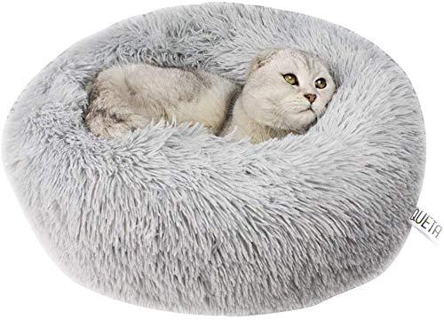 Queta Cama para Gatos y Prrros Cesta Cálida para Mascotas, Sofá de Peluche Suave para Cachorros y Gatitos Casa Gato Cómoda Antideslizante Nido para Mascotas, 60 * 20cm (Gris)
