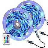 Striscia LED, OMERIL 6M (2x3m) Strisce LED RGB 5050 con 16 Colori e 4 Modalità, Impermeabile USB alimentata LED Striscia con Telecomando RF per Decorazioni, Cucina, Salotto, Bar, Festa, Natale, TV ecc