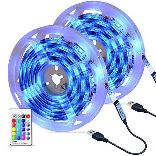 Tiras LED 6M, OMERIL Impermeable Tira LED USB con Control Remoto, 4 Modos de Brillo y 16 Colores, 5050 RGB Tira LED para...