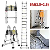 5M Telescopic Ladder Multi-Purpose Foldable Ladder Aluminum Extendable Portable Ladder Heavy Duty Max Load 150kg(330lb) Anti-Slip Safety Locking A Frame & Straight Ladder for Indoor Outdoor