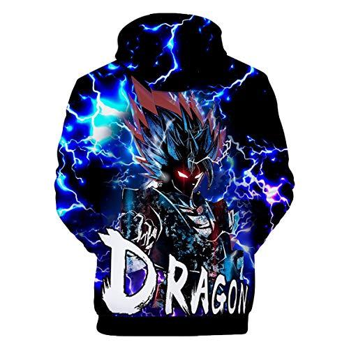 CIZEUR Boys Dragon Ball Hoodies Z Goku 3D Japanese Anime Print Pullover Sweatshirt with Cool Drawstring Long Sleeve,Lightning 2XS