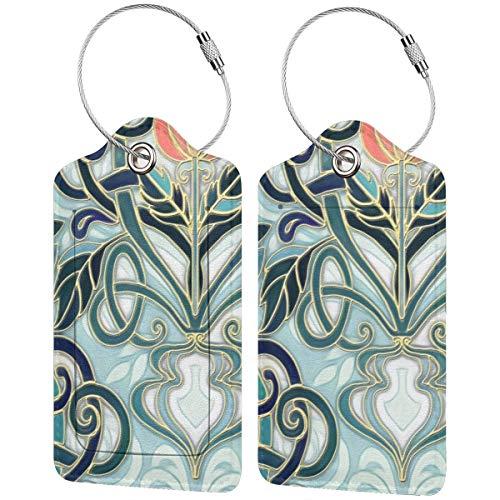 Patrón Art Nouveau con flores de melocotón, etiquetas de equipaje para maleta,...
