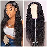Lace Front Wigs Human Hair Water Wave 4x4 Lace Closure Wigs for Black Women 150% Density Brazilian Virgin wet and wavy Human Hair Wigs Pre Plucked with Baby Hair Natural Black Color (32 Inch)