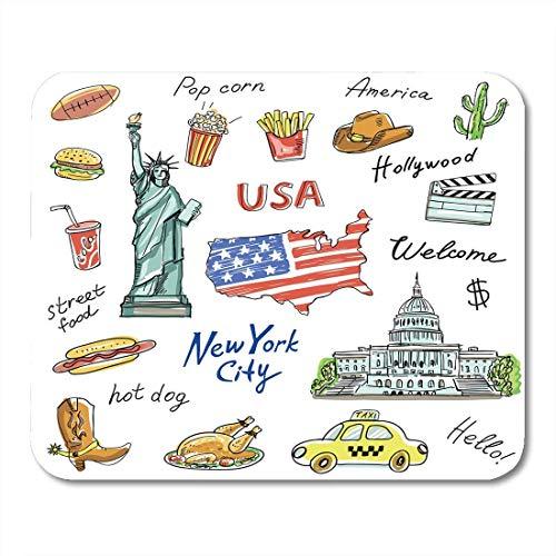 Mauspads amerika symbole wahrzeichen reisen mit der statue freiheit kartoffeln pommes frites flagge popcorn hot dog taxi cola mauspad für notebooks, Desktop-computer büromaterial