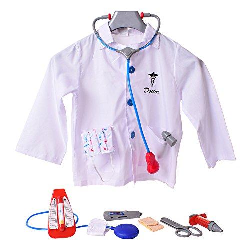 TE-Trend Doktorset Bata de Doctor Abrigo Médico Doctor Accesorio 9-Teilig Estetoscopio Tensiómetro