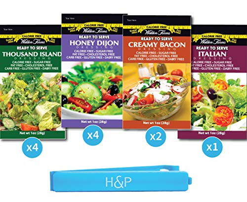 Walden Farms Salad Dressing Packets - 11 Sampler Pack in ready to Serve Calorie Free Flavors, Thousand Island, Honey Dijon, Creamy Bacon and Italian. 11 - 1 oz Pouches in on with H&P Clip