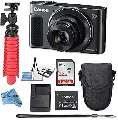 Canon Powershot SX620 (Black) Point & Shoot Digital Camera + Accessory Bundle + Inspire Digital Cloth from inspire digital - canon intl