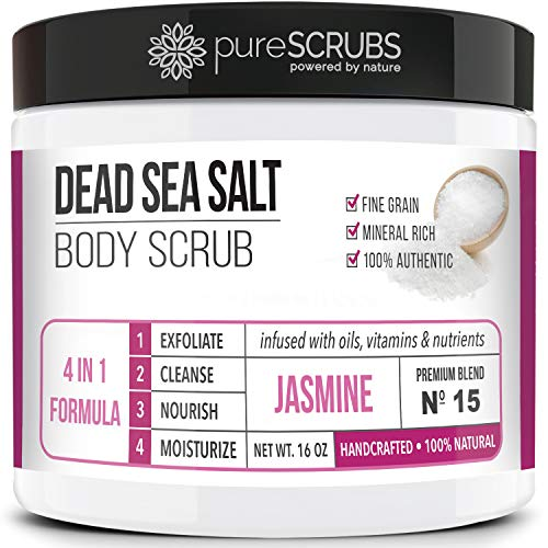 pureSCRUBS Premium Organic Body Scrub Set - Large 16oz COCONUT BODY SCRUB - Dead Sea Salt Infused Organic Essential Oils & Nutrients INCLUDES Wooden Spoon, Loofah & Mini Organic Exfoliating Bar Soap