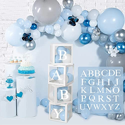 Babyparty Dekoration Ballonboxen - 4 Stück DIY Weiß Transparente Boxen mit 27 Buchstaben A-Z für Jungen Mädchen Babyparty, DIY Namenskombination, Geburtstagsfeierzubehör