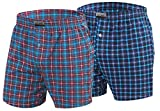 Sesto Senso Pijama Pantalon Corto Hombre Algodón 2 Piezas Pantalón de Dormir Cuadros L 2+3