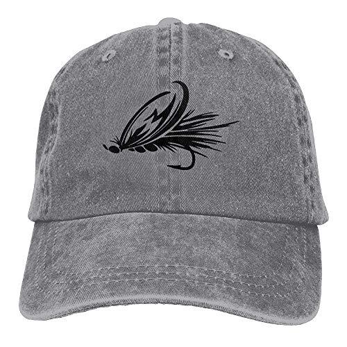 Hoswee Unisex Kappe/Baseballkappe, Fly Fishing Lure Denim Baseball Caps Hat Adjustable Cotton Sport Strap Cap for Men Women