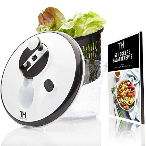 Thiru Salatschleuder 5L | Innovative Kurbel- und Stoppfunktion | eBook inklusive (Premium)