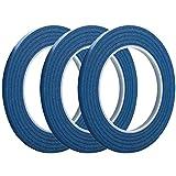 Cinta adhesiva para pintores de 0,63 cm x 182,88 m, cinta de carrocero con acabado estrecho fino y borde de corte fácil de quitar de 14 días, 3 unidades, color azul
