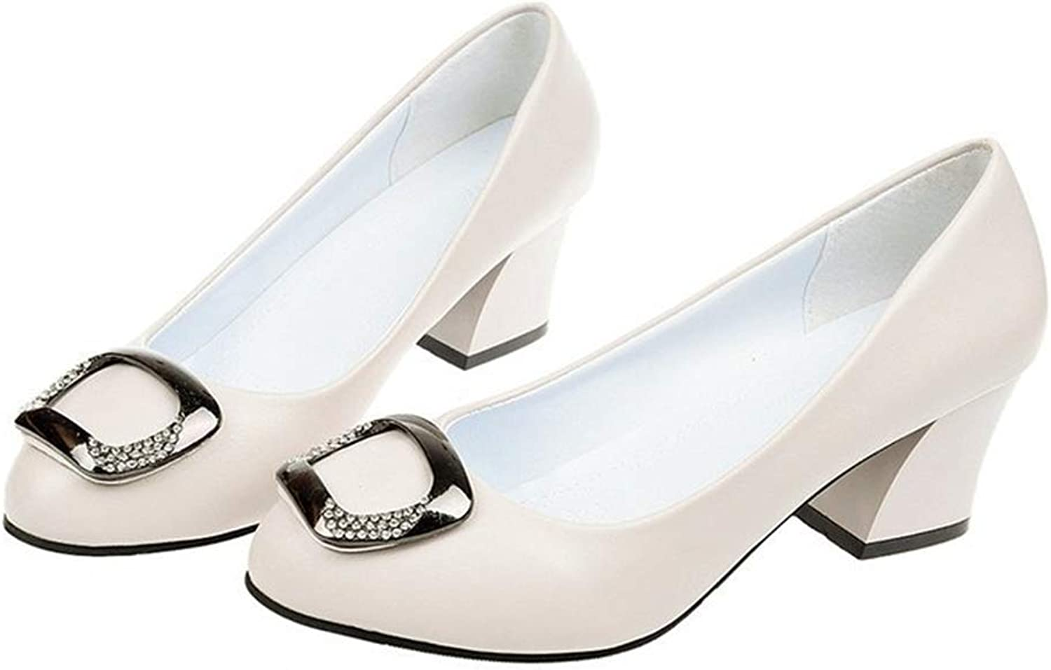 MIKA HOM Women's Low Heel Pumps Pointed Toe Slip On Dress Party Office Pumps Thick Heel