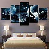 nobrand Leinwanddrucke 5 Panels Wolf Dekor Gemälde Auf Leinwand Wandkunst Für Hauptdekorationen(Rahmenlos) 150Cmx80Cm