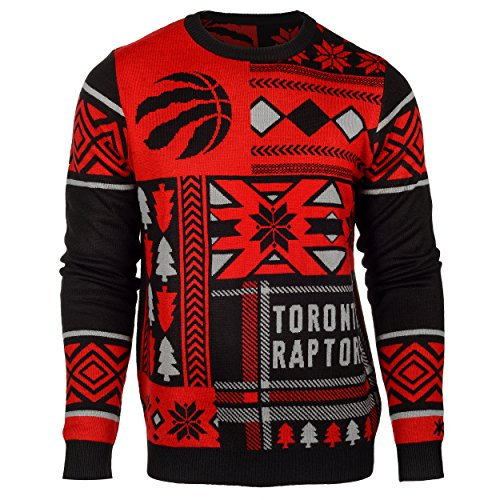 NBA Toronto Raptors Patches Ugly Sweater, Red, Large