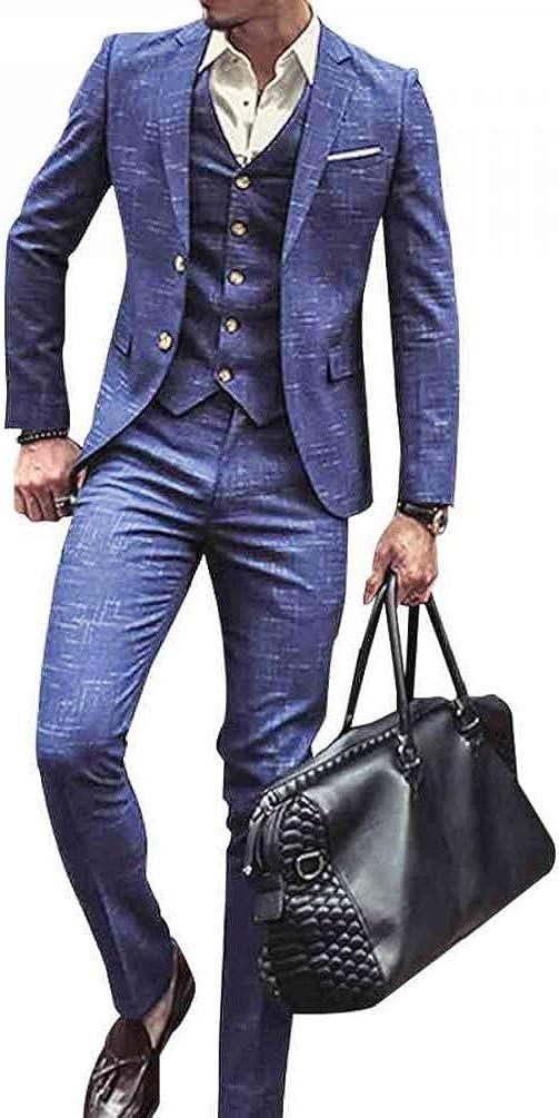 P&G Men's Check Plaid 3 Piece Suit Slim Fit Two Buttons Formal Dress Tuxedo Jacket Tux Vest & Pants