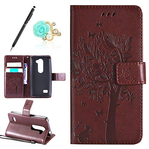 Uposao Kompatibel mit LG Leon 4G LTE H340N C40 Handyhülle Schutzhülle Handytasche Lederhülle Flip Tasche Case Leder Hülle Schmetterling Blume Muster Retro Ledertasche Brieftasche Hülle,Braun
