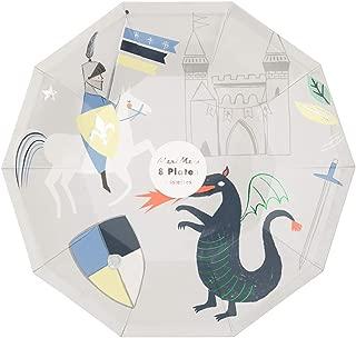 Meri Meri Dragon Knights Large Plate - Pack of 8 - Bright Illustrations