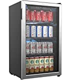 Beverage Refrigerator and Cooler - 120 Can Mini Fridge with Glass Door for Soda Beer or Wine - Small Drink Dispenser Machine for Office or Bar with Adjustable Removable Shelves