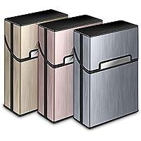 3 Piezas Portátil Caja de Cigarrillo,Cigarette Case de la aleación de Aluminio,Caja Cigarrillo con la Cerradura magnética para 20 Cigarrillos
