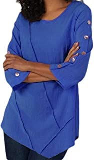 Women Front Wrinkles Solid Color Half Button Sleeve Round Neck Chiffon Shirt Top