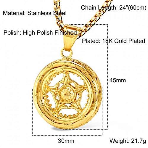 Personalisierte Accessoires, Halsketten, Runde Anhänger Halskette Edelstahl Silber Gold Charm Punk Rock Coole Schmuck Radförmige Anhänger Halskette, Thumby, Silber