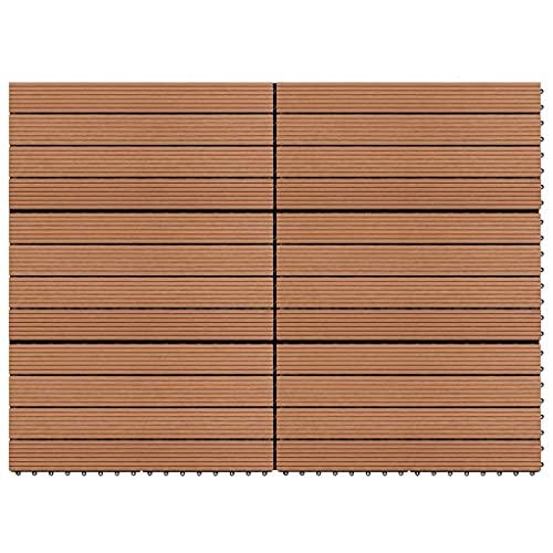 LUYIPINGQIWND Color: Marrón Baldosas 6 Unidades WPC marrón 1m² 60x30 cm