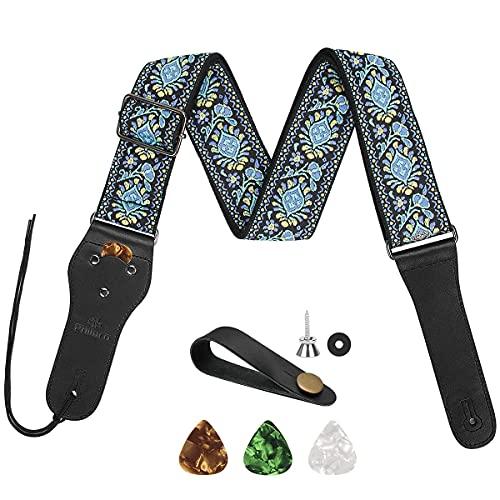 Philorn Gitarrengurt Verstellbarer Echtleder Enden Jacquard Weave Bassgurt für Akustik/Elektrik/Gitarren, Geschenk für Erwachsene & Kinder (Blauer Jacquard )