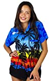 V.H.O. Funky Hawaiian Blouse Women Short-Sleeve Front-Pocket Beach Palm Multi Colors