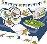 Krause & Sohn Party-Set Kindergeburtstag viele Teile Geschirr Geburtstag Dekoration Geburtstagstisch (Dino)