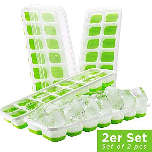 HOT SUMMER Bandeja para Cubitos de Hielo con Tapa - Apilable para ahorrar Espacio - Molde sin BPA (2x Verde)