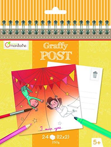 Avenue Mandarine GY013O - Un carnet à spirale Graffy Post 24 cartes imprimées à colorier 15x14,5 cm 250g (12 designs x2), Fête foraine-Cirque
