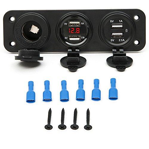 Preisvergleich Produktbild Fortag Auto Zigarettenanzünder Dual USB-Zigarettenanzünder(12V-24V mit LED Licht Voltmeter, mit Deckel, mit Schrauben) Adapter Steckdose