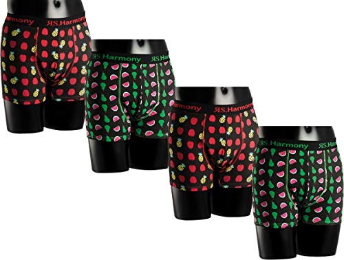 RS. Harmony | Boxershorts für Herren | Baumwolle Elastikbund Fruchtsalat | 4 Stück | Apfel-Ananas, Birne-Melone | XL