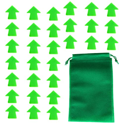 """ReallyDobry Carpet Spot Sit Markers - 4"""" Arrow Floor Markers for Students Group Activity Sports Training Landmark - 30 Pcs Green Hook and Loop Classroom Sitting Dots with Non-Woven Drawstring Bag"""