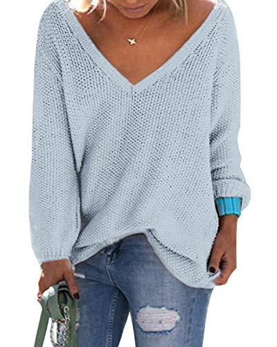 YOINS Sweter z dzianiny, damski sweter na zimę, dekolt w kształcie litery V, seksowna górna część damska, elegancka
