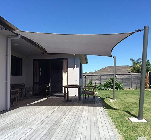 SUNNY GUARD 8' x 10' Charcoal Rectangle Sun Shade Sail UV Block for Outdoor Patio Garden