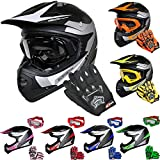 Leopard LEO-X19 Kinder Motocross MX Helm { Motorradhelm + Handschuhe + Brille} Weiß L (53-54cm) ECE Genehmigt Crosshelm Kinderquad Off Road Enduro Sport
