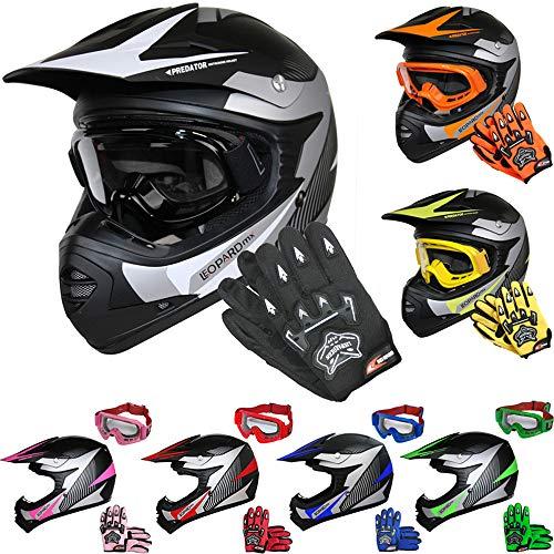 Leopard LEO-X19 Kinder Motocross MX Helm { Motorradhelm + Handschuhe + Brille} Weiß M (51-52cm) ECE Genehmigt Crosshelm Kinderquad Off Road Enduro Sport